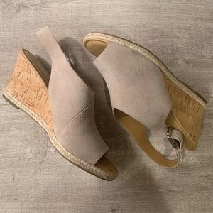 Franco Sarto Taupe Suede Cork Open Toe Wedges